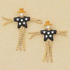 Goldplated Enamel Crystal Scarecrow Post Earrings