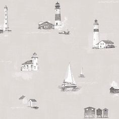 Lighthouse by Galerie - Warm Grey / Blue - Wallpaper : Wallpaper Direct Geometric Wallpaper Murals, Wallpaper Panels, Kids Wallpaper, Wallpaper Roll, Wall Wallpaper, Wallpaper Backgrounds, Green And Grey, Blue Grey, Blue And White
