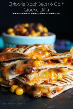 Chipotle Black Bean & Corn Quesadillas. Delicious Spicy Vegetarian Dish!