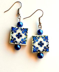 Portugal Azulejo Tile Replica  Earrings  PORTO BLUE see by Atrio, $14.00