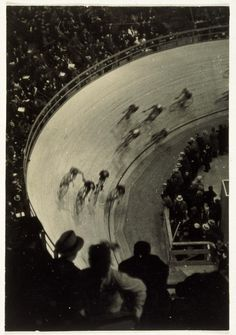By Fred Zimmerman. Big cycling Race, Madison Square Garden, New York, 1932