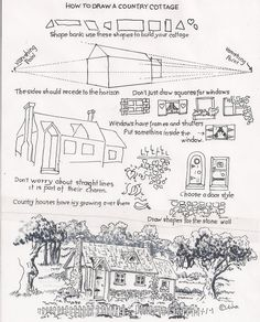 How to draw a country cottage (Full post: http://drawinglessonsfortheyoungartist.blogspot.com/2011/10/how-to-draw-country-cottage.html?m=1)