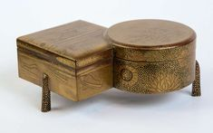 19th Century Japanese Gold Laquer Kobako | From a unique collection of antique and modern lacquer at https://www.1stdibs.com/furniture/asian-art-furniture/lacquer/