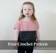 Toddler Two Tone Sweater   Pale Rose Crochet