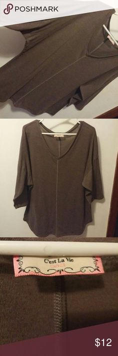 C'est La Vie brand knit dolman tunic C'est La Vie brand knit dark khaki/olive dolman tunic. No size tag so I would guess it would fit anywhere from a medium to an extra large depending on how roomy you want it. Drop shoulders and contrasting stitch down the middle of the front and back. V neck. C'est La Vie Tops Tunics