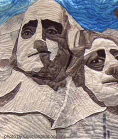 Close-up, Mount Rushmore by Mary E. Barry.  2014 PIQF, photo by Quilt Inspiration