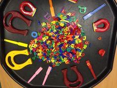 Learning and Exploring Through Play: 44 Tuff Spot Play Ideas Alphabet Activities, Preschool Learning, Nursery Activities Eyfs, Capacity Activities, Colour Activities, Senses Activities, Teaching Phonics, Preschool Literacy, Gross Motor