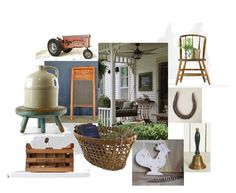 """Vintage Vignette ~ Farmhouse Style"" by vintageandmain ❤ liked on Polyvore featuring interior, interiors, interior design, home, home decor, interior decorating, rustic and vintage"