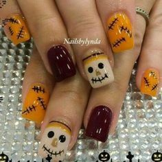 Are you looking for fall acrylic nail colors design for this autumn? See our collection full of cute fall acrylic nail colors design ideas and get inspired! Fall Nail Art Designs, Halloween Nail Designs, Colorful Nail Designs, Halloween Nail Art, Toenail Designs Fall, Fall Halloween, Halloween Scarecrow, Halloween Ideas, Happy Halloween