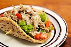 Slow Cooker Middle Eastern Garlic Chicken.  YUM!!  This makes tons of chicken so try it any way you like: pitas, chicken salad, pizza, etc.  P.S. As anything else, it's AMAZING with avocados! :)