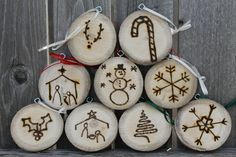 Wood slice ornaments with wood burned designs. Create your own or choose options pictured. Great to remember your first Christmas together, babys