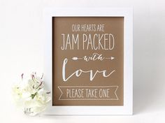 Jam Packed with Love Wedding Jam Favor Sign by TheCrookedTwig