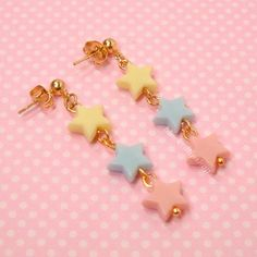 Fairy Kei Star Earrings Ball Post Gold Light Pink Blue Yellow Kawaii