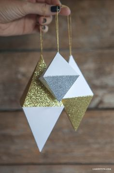 Paper Geode Christmas Ornaments