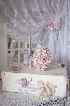 Shabby Chic ~ Love the curtain!                                                                                                                                                                                 More