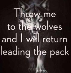Wirf mich zu den Wölfen in den Käfig und ich werde als Anführer des Rudels zurückkehren.