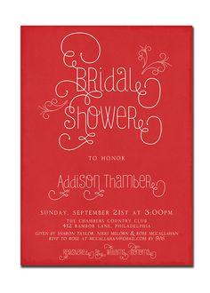 Modern Bridal Shower Invitation Typography Invitation Vintage Retro Red White Printable Digital or Printed - Addison Style