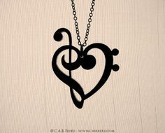 Treble & Bass Clef Heart Necklace  Laser Cut Acrylic  by CABfayre, $15.00
