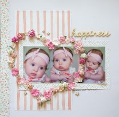 Creative Mayhem: Baby Layouts using multilple photos Baby Girl Scrapbook, Baby Scrapbook Pages, Scrapbook Sketches, Scrapbook Page Layouts, Scrapbook Albums, Scrapbooking Ideas, Photo Layouts, Barbie Clothes Patterns, Kids Pages