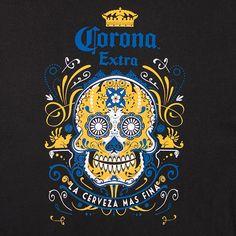 skull beer logo | Corona Sugar Skull Cerveza Mas Fina T Shirt - Black