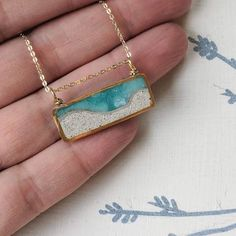 Diamond Necklace/ ctw Diamond Solitaire Necklace in Gold/ Diamond Bezel Setting Necklace/ Single Diamond Necklace/ Mothers Day Gift - Fine Jewelry Ideas - Mini Beach Scene Brass and Resin Necklace - Resin Necklace, Resin Jewelry, Glass Jewelry, Body Jewelry, Jewelry Crafts, Silver Jewelry, Handmade Jewelry, Diamond Earrings, Silver Earrings