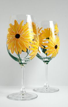 Yellow Sunflower Wine Glasses -- Set of 2 Hand Painted Sunflower Glasses