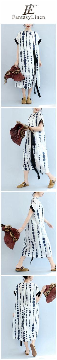 Blue Dot White Long Cotton Loose Dress Women Clothes