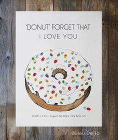 Wedding Guest Book Alternative sprinkles donut w& inks 1 Donut Drawing, Thumbprint Guest Books, Fingerprint Art, Sprinkle Donut, Balloons And More, Tree Wedding, Wedding Book, Diy Wedding, Wedding Guest Book Alternatives