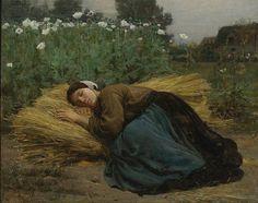 Jules Breton - Jeune moissonneuse endormie sur des gerbes de blé