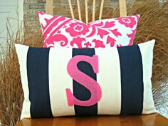 Navy and Pink nursery!!!!  Monogrammed Lumbar Pillow Cover  Navy and White by nest2impress,