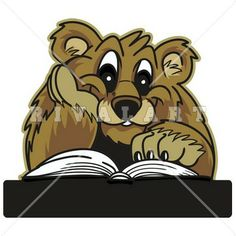 Mascot Clipart Image of a Bear Reading Graphic
