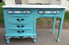 french provincial desk makeover, painted furniture, After
