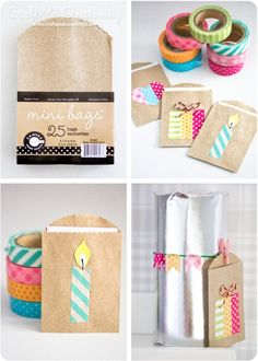 Create cute, DIY gift tags using washi tape and small paper bags. We love this craft!