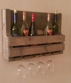 Rustic Pallet Wine Rack // Pallet Wine Rack // by KDMWoodcrafts Wine Rack Wall, Wine Glass Holder, Wine Bottle Holders, Bottle Stoppers, Rack Pallet, Pallet Wine, Pallet Bar, Red Mahogany Stain, Glass Shelf Supports