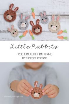 This little pattern is perfect for Easter. Use scrap yarn to make small, medium or large bunnies. These little crochet appliques can be used to adorn all sorts of projects Bunny applique crochet pattern Crochet Teddy, Crochet Bunny, Cute Crochet, Crochet Toys, Easy Crochet, Crochet Animals, Crochet Birds, Knitted Dolls, Crochet Mask