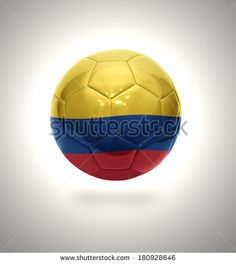 Football ball with the national flag of Colombia on a gray background