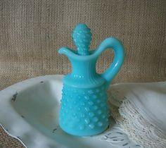 Vintage Aqua Milk Glass Hobnail Cruet by QueeniesVintageFind