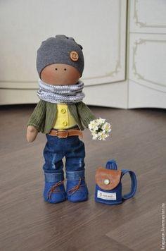 Куклы тыквоголовки ручной работы. Ярмарка Мастеров - ручная работа. Купить Мальчик с рюкзаком. Handmade. Разноцветный, кукла мальчик, фурнитура