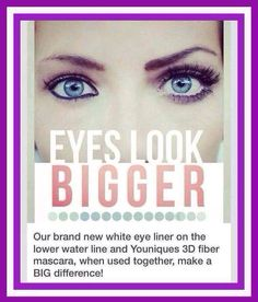 White liner in your lower water line...wow! What a difference! My liners are $15 each but I have sets of 3 for $40 or 10 for $125! I also have a complete package that includes all 10 eyeliners and all 5 lip liners with a sharpener for $165!