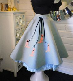 1950s Poodle Skirt Circle Rockabilly Wool Felt  Sock Hop Happy Days Vintage 1950s Party