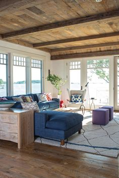 Coastal living room with a view  embrace your low ceilings most people have them!! Corinne Madias Kw SE Michigan Fine Homes