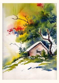 watercolor art for beginners ; watercolor art for beginners simple ; Watercolor Paintings Nature, Watercolor Paintings For Beginners, Watercolor Landscape Paintings, Indian Art Paintings, Watercolor Canvas, Watercolor Trees, Landscape Drawings, Landscape Art, Water Colour Landscape