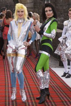 Glam-Space-Age-Punk-Rock-Queens, designer Pam Hogg and Siouxsie rock the tartan carpet.
