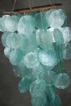 Aqua Capiz shell chandelier by amelia
