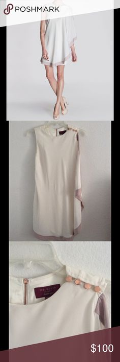 Beautiful White and Pink Ted Baker Dress Worn once and in perfect condition. No rips or holes. Measures 33 inches in length, 32 inches at the bust, 28 inches at the waist. There is a bit of stretch to the dress fabric. It's a Ted Baker size one which is like a 2-4 I think.  Beautiful rose gold detail. Please comment with questions!! Ted Baker Dresses Asymmetrical