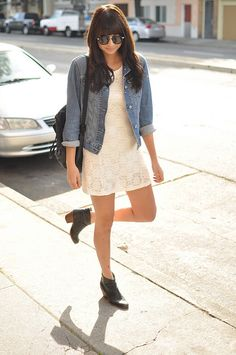 Lace dress, jean jacket, black boots, fall or spring outfit clothes & s Denim Jacket With Dress, Gap Denim Jacket, Dress With Boots, Denim Shirt, Shirt Jacket, Fall Outfits For Work, Summer Outfits, Denim And Lace, Black Boots