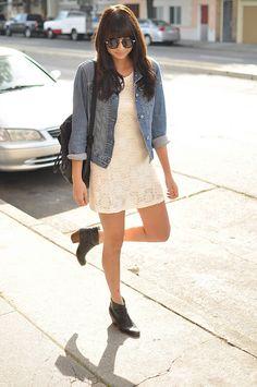 lace dress, denim jacket, black ankle boots