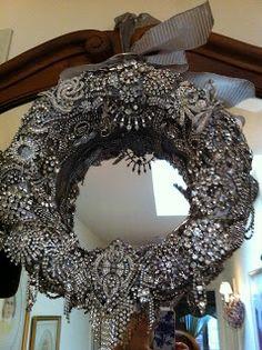 vintage rhinestone pin wreath