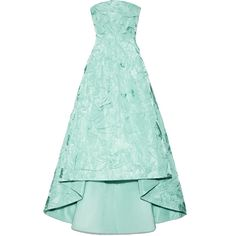 Rochas Strapless Pleated Silk Taffeta Gown (98.825 ARS) ❤ liked on Polyvore featuring dresses, gowns, long dresses, hi low dress, long strapless dress, high-low dresses, short in front long in back dress and open back dress