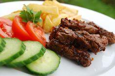 Biff snadder Norwegian Food, Steak, Beef, Drink, Baking, Meat, Beverage, Bakken, Ox